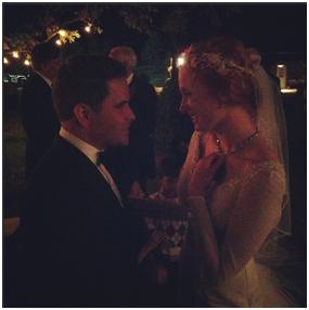 Warwick and Jessica Sabin sharing a quiet moment at their wedding.