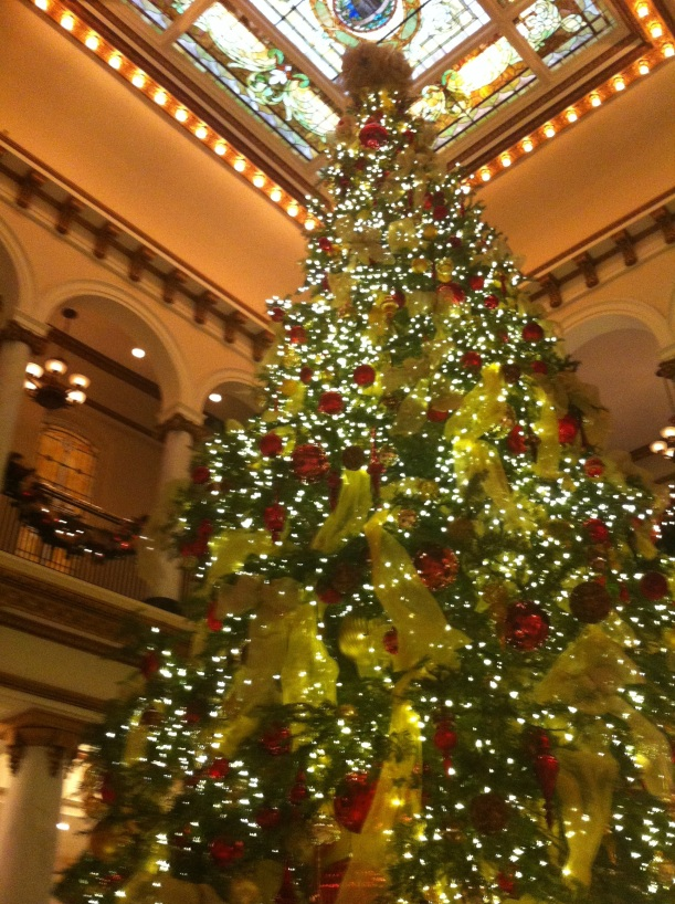 The internationally recognized Capital Hotel tree. Decorations by Tipton Hurst.