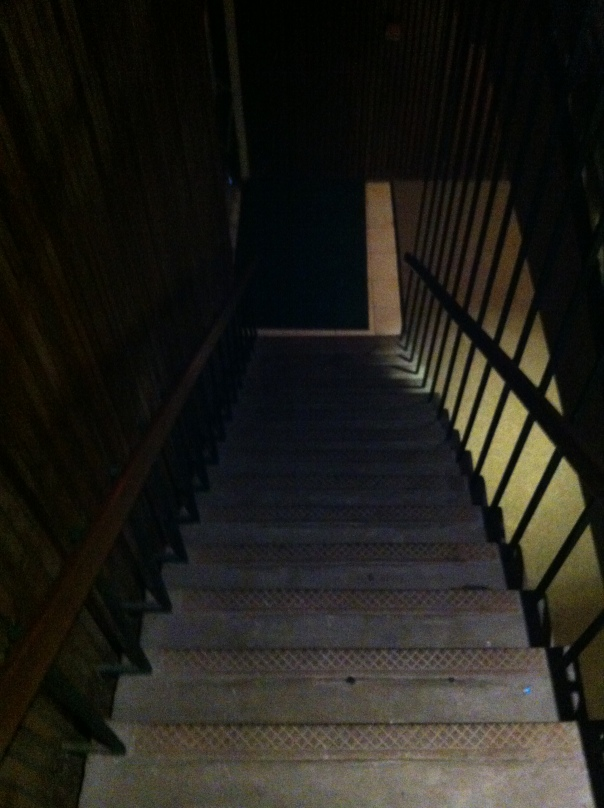 The stairwell in the auditorium on the Philander Smith campus.