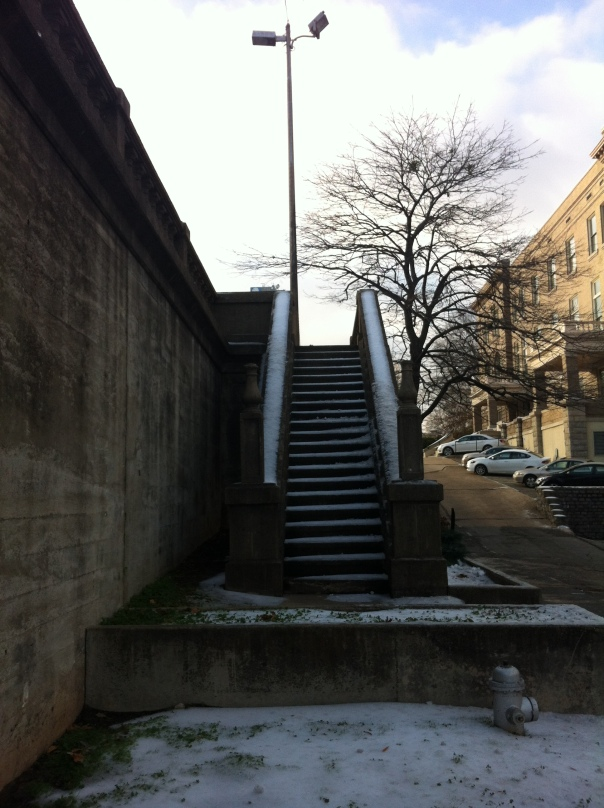 Steps along the Broadway Bridge after the December snow.