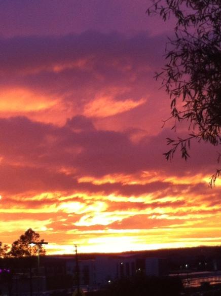 A December sunset in midtown Little Rock.