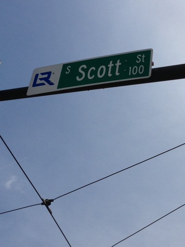 A downtown streetsign.