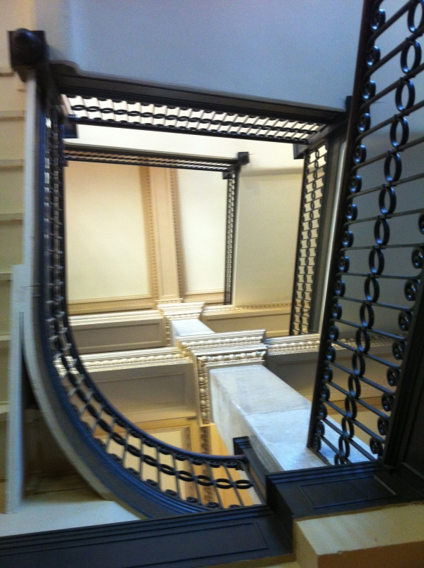 Looking up through the grand staircase at Little Rock City Hall.