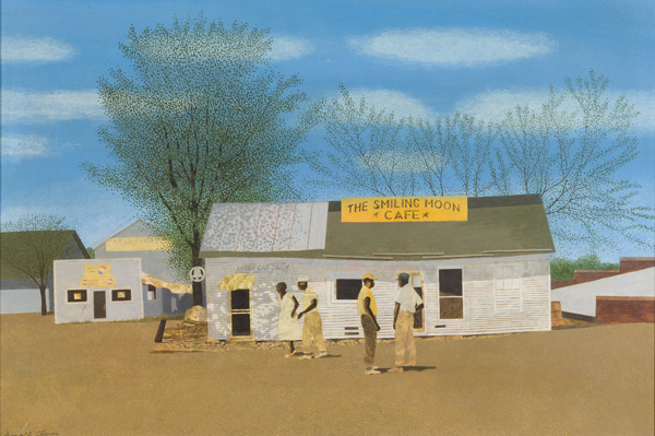 Carroll Cloar, The Smiling Moon Cafe, 1965, casein tempera on Masonite, 25 in. x 36 in., Private Collection, ©Estate of Carroll Cloar