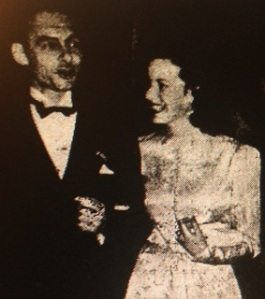 Mayor J V Satterfield escorting actress Maureen O'Hara at the Movie Ball (photo from Arkansas Democrat)