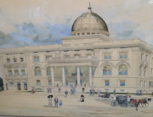 The 1906 plans for City Hall with the Municipal Auditorium on the left portion.
