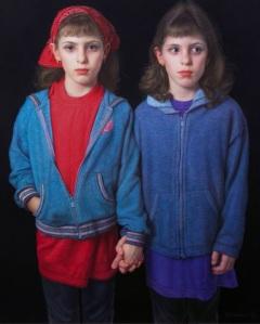 Bill Vuksanovich, American (Belgrade, Yugoslavia, born 1938), Sisters I, 2006, color pencil and Nero pencil on paper, courtesy of the artist and Forum Gallery.