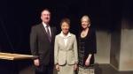 The Rep's Bob Hupp and Catherine Hughes flank NEA Chair Jane Chu