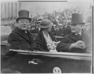 Gov. & Mrs. Roosevelt with Sen. Robinson en route to FDR taking oath as president.