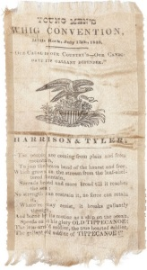 A campaign ribbon from an 1840 Harrison and Tyler rally in Little Rock.