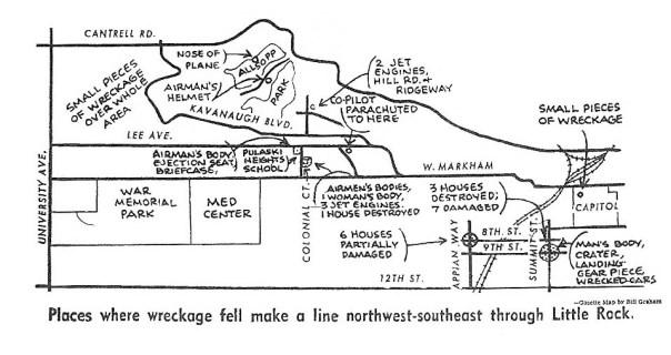 Arkansas Gazette map of debris and damage