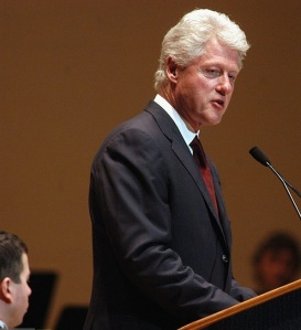 Former U.S. President Bill Clinton addresses the audience after reciting Martin Luther King's famous speech, 'I Have A Dream', to the music of Alexander L. Miller at Robinson Auditorium March 25, 2003 in Little Rock, Arkansas. Clinton was the honored guest for a performance by the Arkansas Symphony Orchestra to benefit the William Jefferson Clinton Presidential Foundation. (Photo by Karen E. Segrave/Getty Images)