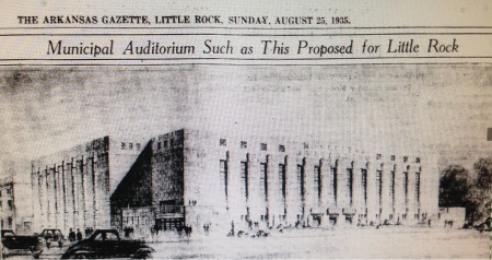 An August 25, 1935, rendering in the ARKANSAS GAZETTE of the proposed Little Rock auditorium at Capitol and Scott Streets.