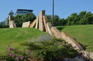 Stones placed in Riverfront Park denote where there Quapaw Line started from La Petite Roche