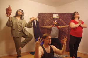 """Members of the cast rehearse """"Free Yoga"""" a sketch for Red Octopus Theater's upcoming Summer Oven sketch comedy show."""