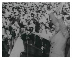 Detail from UPI photo of General Eisenhower following his address.