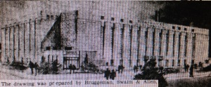 Potential rendering of new auditorium which appeared in October 30, 1937 ARKANSAS GAZETTE