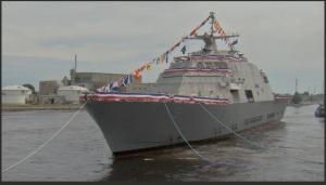 USS LR afloat