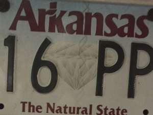 A detail from an Arkansas license plate