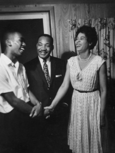 Ernest Green, Dr. King and Daisy Bates share a relaxed moment -- which was probably rare for the three in 1958