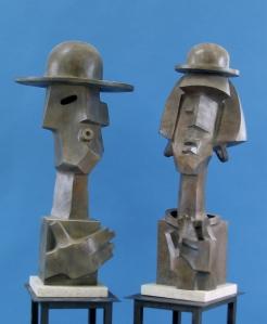 "Wayne Salge Photo: Mel Shockner Benito & Amelia 35x16x16"" Bronze"