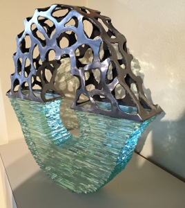 "Stephen Shachtman Helix 20x18x3"" Glass/Steel"