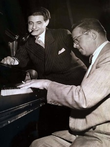 Lyricist Leo Robin with composer Jule Styne working together on the score of Gentlemen Prefer Blondes at the time of the original production in 1949.