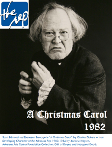 "Scott Edmonds as Ebenezer Scrooge in ""A Christmas Carol"" by Charles Dickens – from Developing Character at the Arkansas Rep 1983-1984 by Andrew Kilgore. Arkansas Arts Center Foundation Collection. Gift of Doyne and Margaret Dodd."